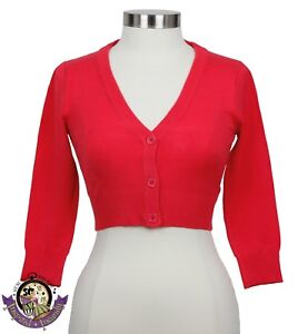 Image is loading MAK-Cropped-Cardigan-Sweater-PINK-FLAMINGO-50s-Rockabilly- ff37ccb0c