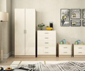 High Gloss 4 Piece Plain Bedroom Set Wardrobe Chest 2x ...