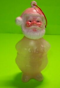 Santa-Claus-Plastic-Candy-Container-Ornament-NOS-Vintage-Christmas-Hong-Kong