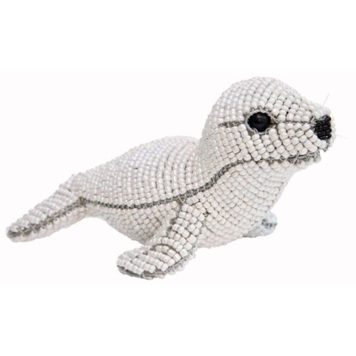 BEADWORX ~ HARP SEAL~ BEADED ANIMAL ~ HAND CRAFTED GIFT ~ ORNAMENT