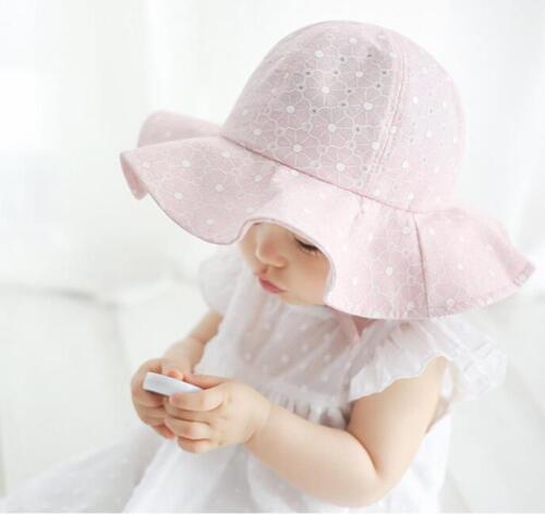Toddler Infant Kids Baby Girls Outdoor Beach Sun Cap Cotton Wide Brim Floppy Hat