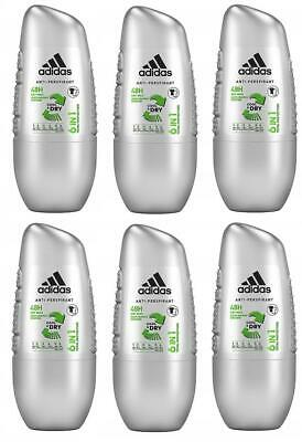 Adidas Hommes Cool & Dry 6 IN 1 Antitranspirant Déodorant Roll On 6 X 50ml | eBay