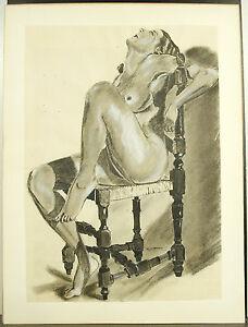 H Gauthereau Femme Nue Assise Dessin érotique Nude Woman Au Crayon & Fusain AgréAble à GoûTer