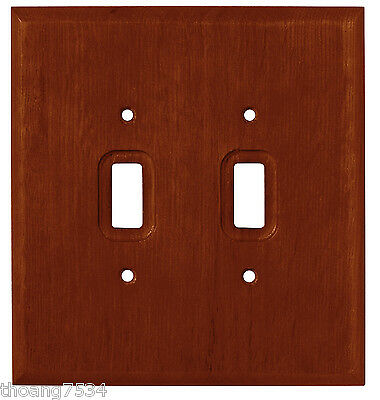 Dark Walnut Fiberboard Wood Double Light Switch Wall Plate Outlet Cover 64531