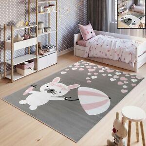 Kinderteppich-Kurzflor-Grau-Weiss-Rosa-Hase-Baer-Pastellfarben-Kinderzimmer-NEU