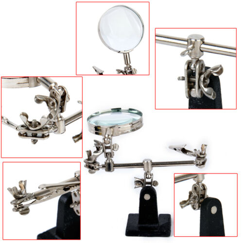 Helping 3rd Hand Soldering Iron Hobby Tool with Vise Clamp Magnifying Glass