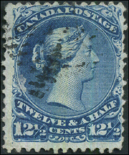 Canada #28b used F 1868 Queen Victoria 12 1/2c deep blue Large Queen Thin paper