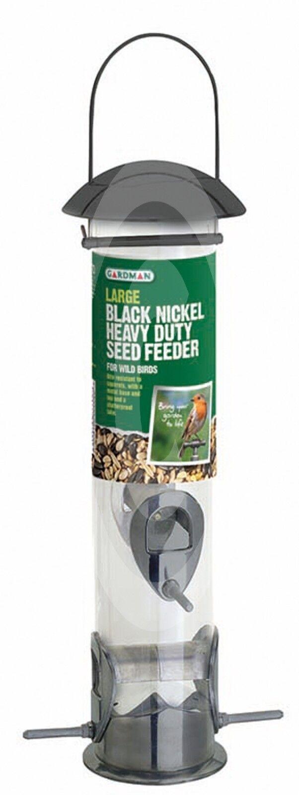 Gardman Large Heavy Duty HQ nichel nero Seme Alimentatore in alluminio facile riempire la mangiatoia