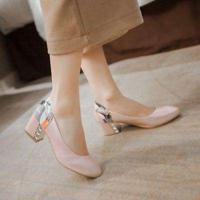 Fashion Womens Pumps Plus Size Court Ladies Block Mid Heels Slip On Dating Shoes
