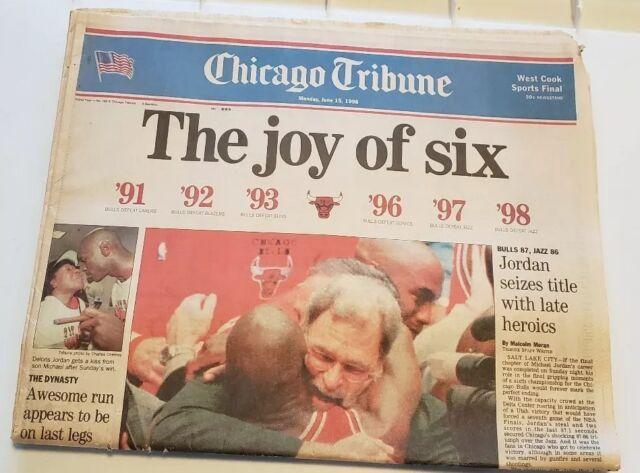 1998 Chicago Tribune Newspaper Bulls Win 6th Michael Jordan June 15th