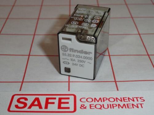 Finder Relay 55.32.9.024.0000 24VDC 10A DPDT 600Ohm Socket Plug-In D25-13