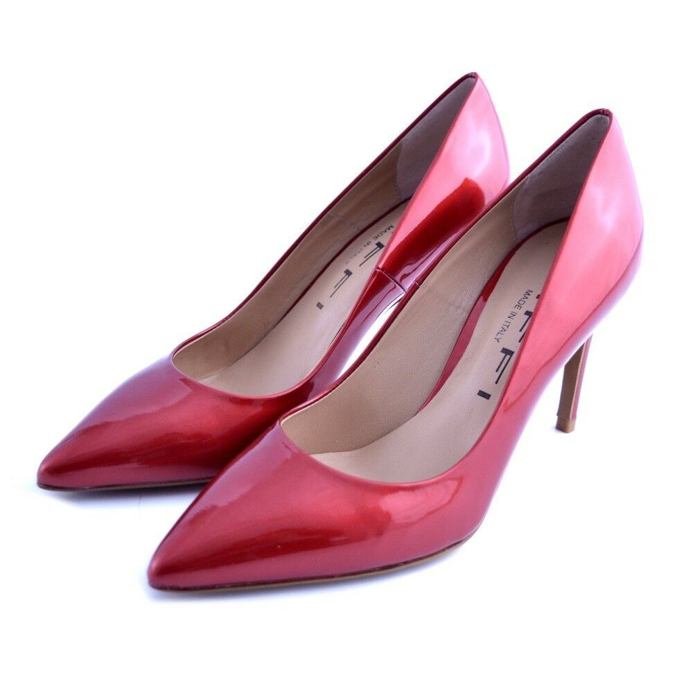 shoes court shoes pointed Tiffi woman leather satin glossy red heel slim