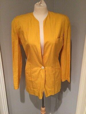 Iconic DONNA KARAN Black Label Vintage 80s Yellow Silk Blazer Jacket Sz 4 EUC