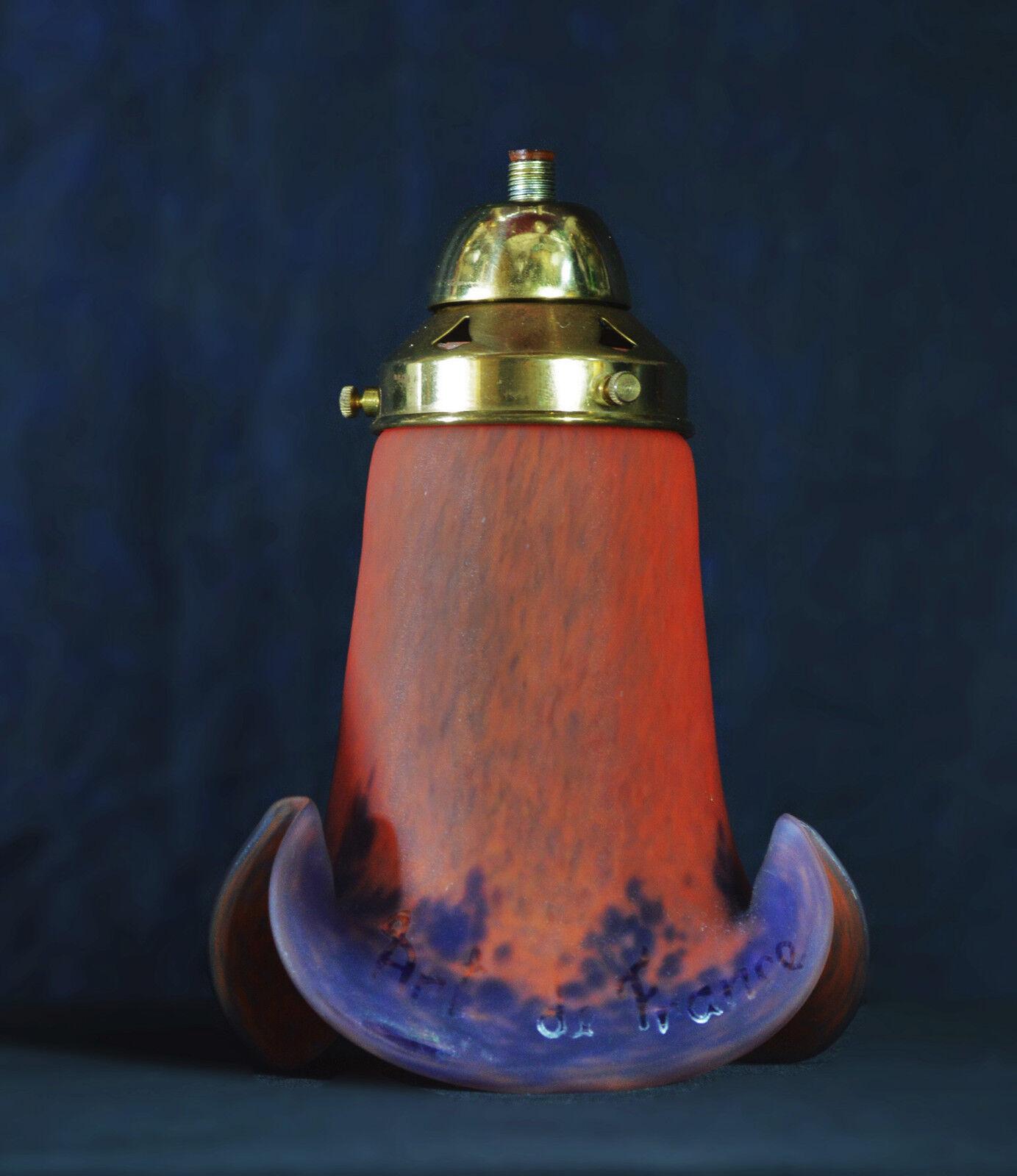 VINTAGE Francese Art Deco Fatto a a a Mano Pate DE Verre bocca-soffiato Lamp Shades. SPLENDIDA d624fe