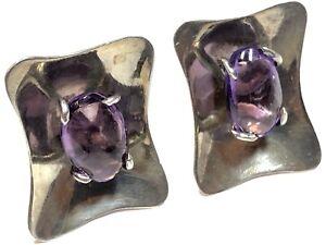 Vintage-Ladies-Sterling-Silver-Amethyst-Screwback-Earrings-MEXICO-Signed-JU