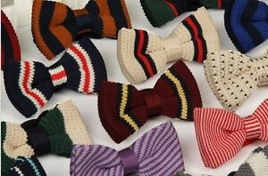 Men-039-s-Fashion-Multi-Colour-Striped-Bowtie-Knit-Knitted-Pre-Tied-Bow-Tie-Woven