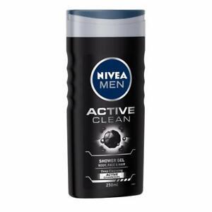 NIVEA-MEN-Hair-Face-amp-Body-Wash-Active-Clean-Shower-Gel-250ml