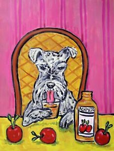 schnauzer painting wine animal dog bar art       8.5x11 glossy photo print