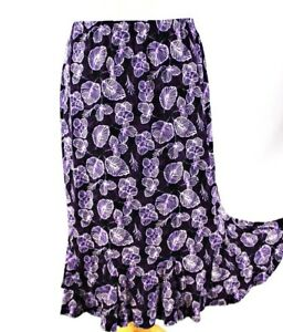 NIGHTINGALE-Skirt-Floral-Frill-Hem-Slinky-Midi-12-Purple-Summer-Going-Out-Formal