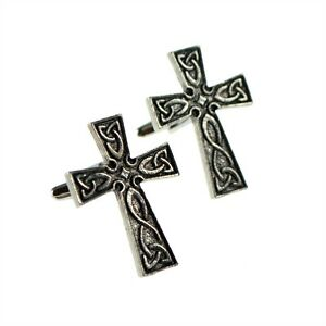 English-Made-Interlaced-Celtic-Cross-Pewter-Cufflinks-in-a-Box-XWCL026