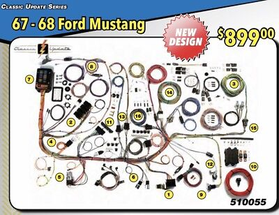 NEW DESIGN 1967 1968 FORD MUSTANG WIRE WIRING HARNESS AMERICAN AUTOWIRE  510055 | eBayeBay