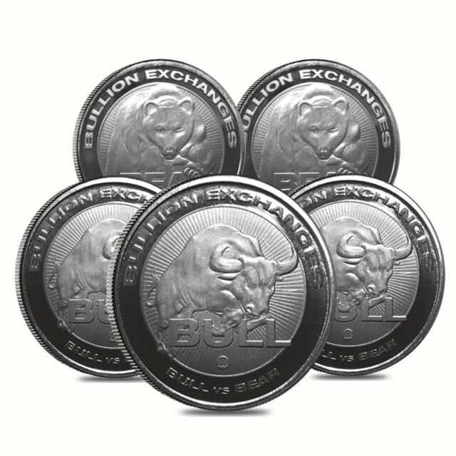 Lot of 5 - 1 oz Bull vs Bear .9999 Fine Silver Round Bullion Exchanges (RMC)