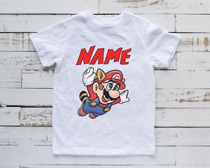 Funny Mario Kids T-Shirt Super Tee Gaming Gamer Birthday Top Unisex Gift Present