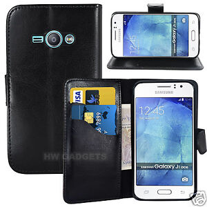 quality design 85220 6ebe2 Details about Leather Wallet Flip Case Cover for Samsung Galaxy J1 Ace -  FULL BODY PROTECTION