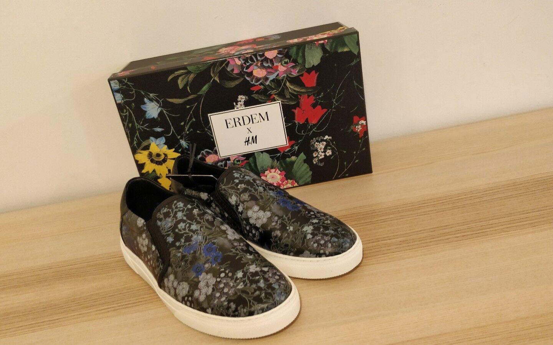 H & M Erdem floral slip on 9.5 trainer UK 9.5 on 40702c
