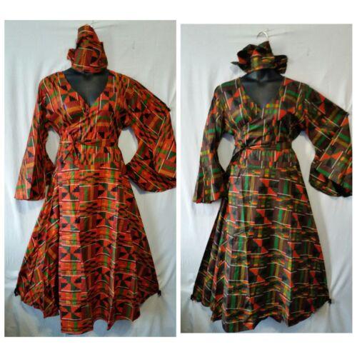 New Women/'s Clothing African Kente Print Wrap Dress Maxi Long Dress Free Size