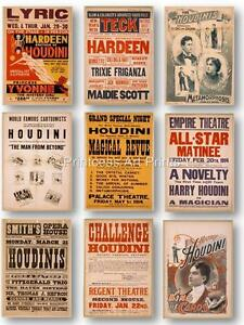 Vintage Houdini Magician Magic Show Posters SET OF 9 PRINTS Collection