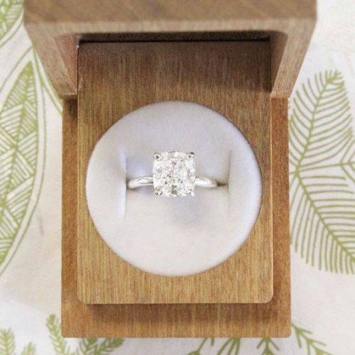 Certified 4.0Ct Cushion White Diamond Engagement Ring In Solid 14K White gold