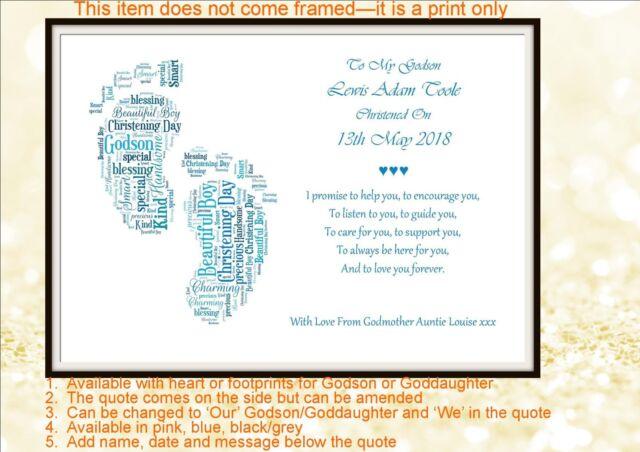 Baptism Gift For Godparents Christening Gift Godparents: Personalised Christening Poem Gift Godchild Godparent
