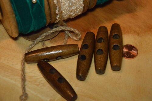 Große Knebel Holz Knopf Knöpfe 5cm x 1,3cm 5x1,3cm 50x13mm 5 Stück NEU Dunkel