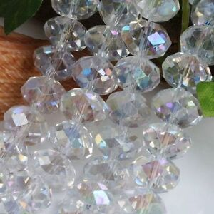 100 (±3) PCS , 4 X 6 mm Faceted White Clear Crystal Gemstone Abacus Loose Beads