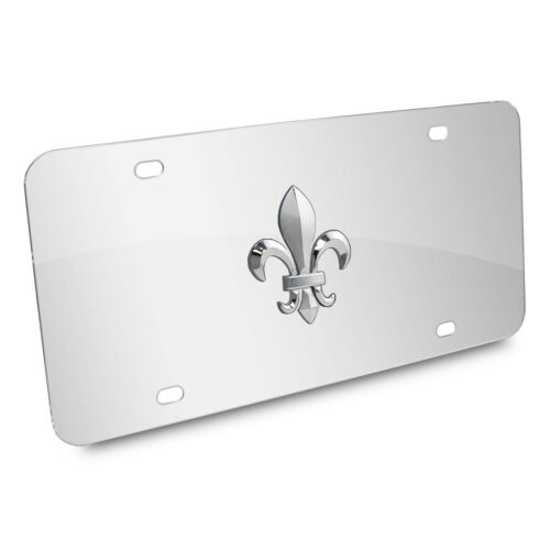 Fleur-De-Lis FDL 3D Logo Chrome Stainless Steel License Plate