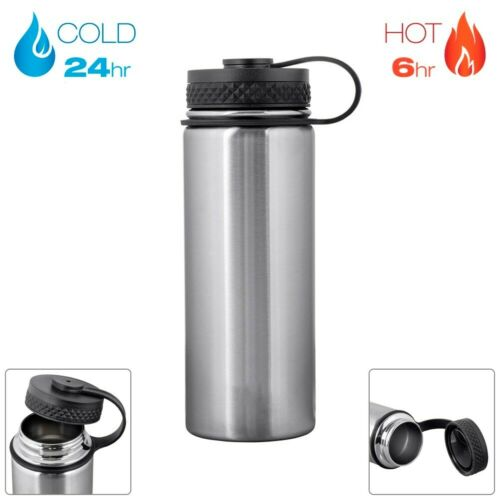 18oz Water Bottle Wide Mouth Insulated Hiking Cycling Gym Sports Stainless Steel