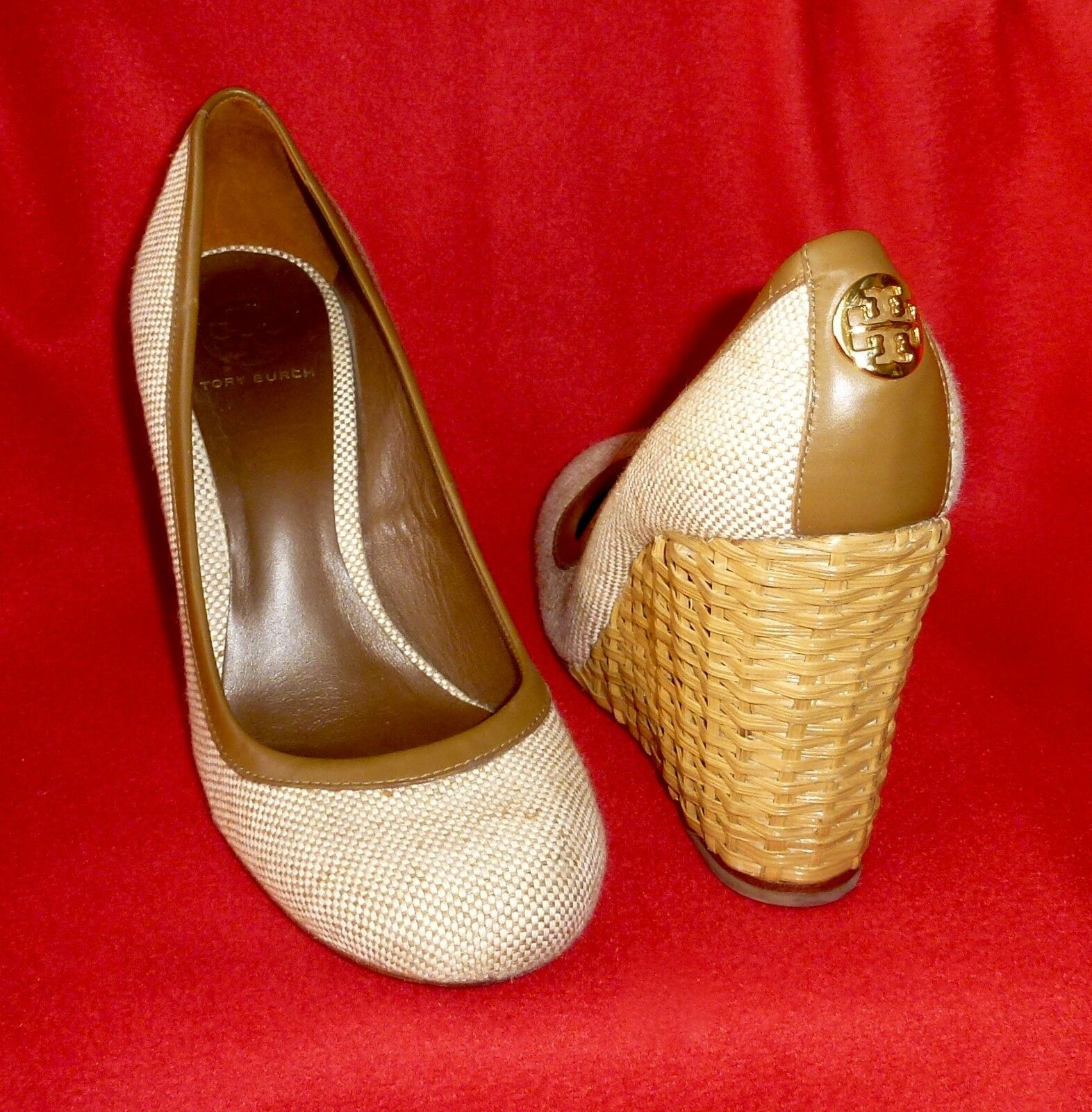 300 Tory Burch Bovary Gold Logo Round Toe Wicker Tweed Wedges 10