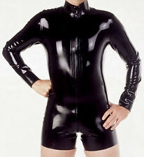 Latex Rubber Gummi Ganzanzug Black Zipper Tights Uniform Suit Size XS-XXL