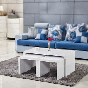 Image Is Loading White High Gloss Coffee Table Nest Of 3  Part 70