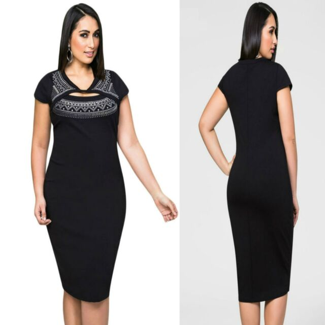 Black Cap Sleeve Bodycon Cocktail Formal Party Sexy Midi Dress Plus Size 16 18