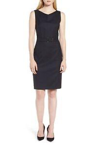 Hugo Boss Women's Blue Dinalia Mini Dot Belted Wool Sheath Dress Size 6 82246