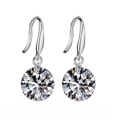Women's Silver Plated White Earrings Stud Rhinestone Crystal Party New Fashion e