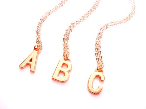 Collar de oro rosa inicial letra del alfabeto Personalizado Colgante Cadena Plateado UK