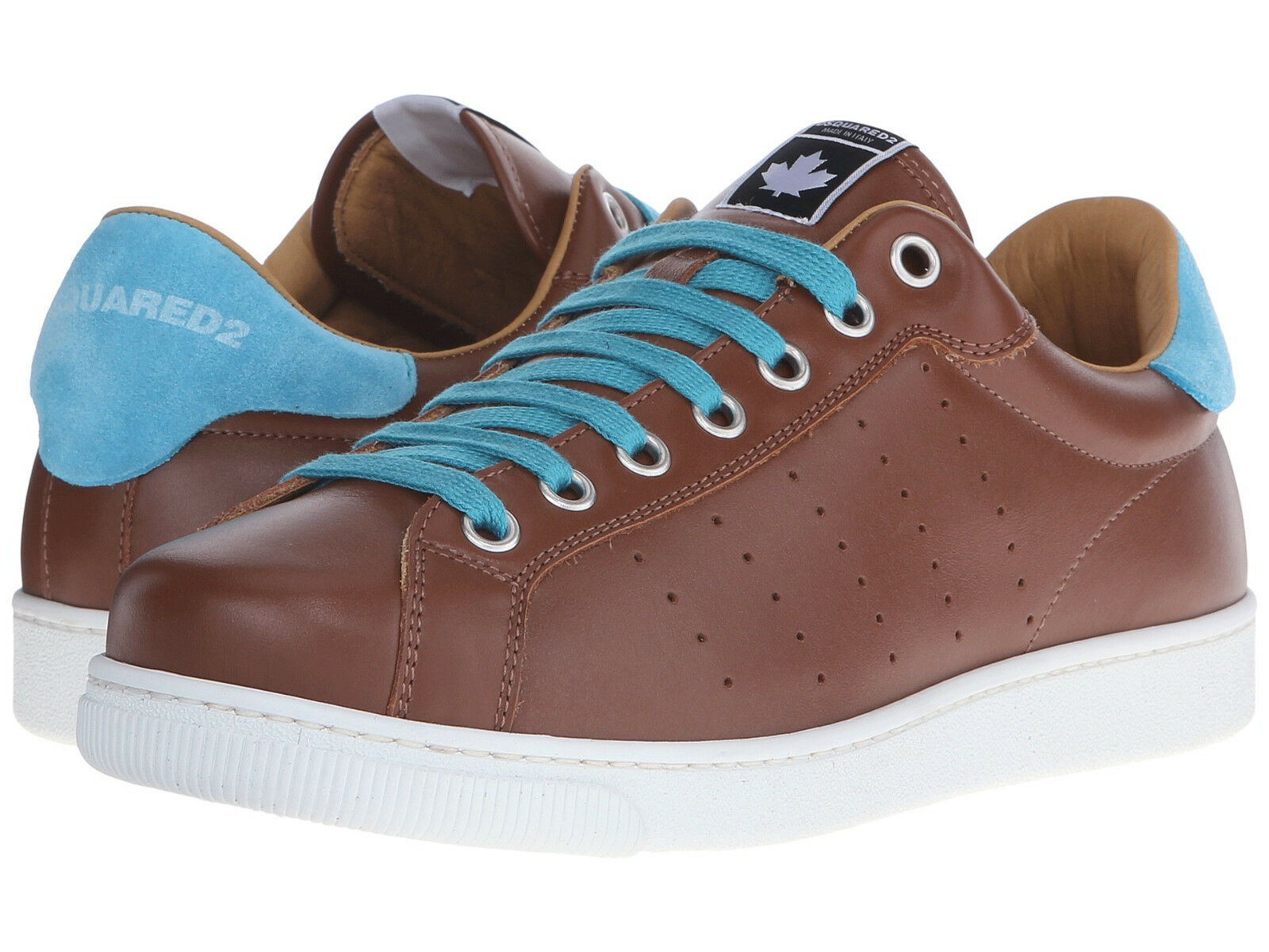 NEW DSQUARED2 Brown Leather and bluee Suede Low-Top Sneakers Size 10