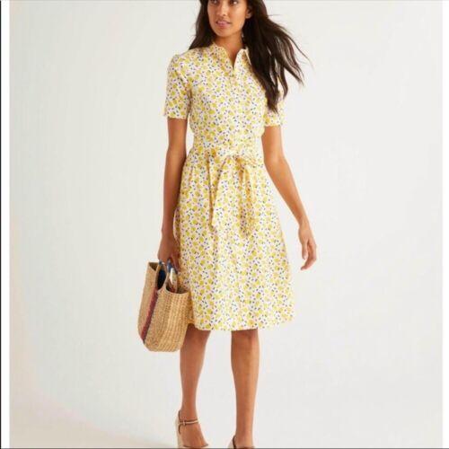 Boden Yellow Anastasia lemon print Shirt Dress siz