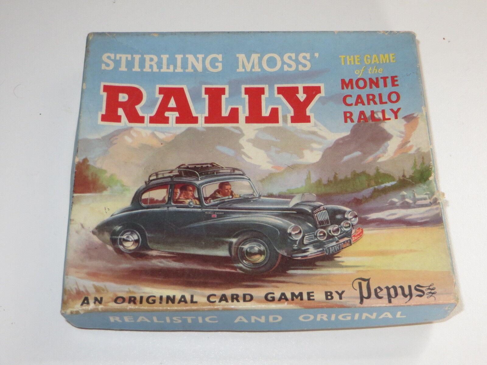 1954 Pepys Stirling Moss Monte Carlo Rally Card Game-Raro en Caja Completa