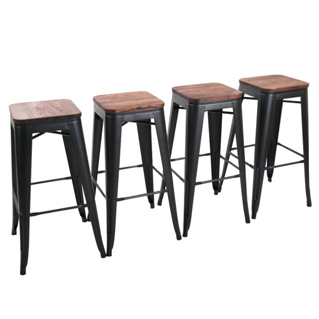 Miraculous 4 Metal Steel 30 Bar Stool High Counter Top Barstool Wooden Cushion Seat Black Caraccident5 Cool Chair Designs And Ideas Caraccident5Info