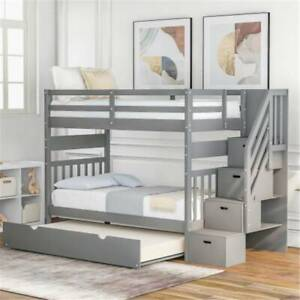 Twin-over-Twin-Full-Bunk-Bed-Frame-with-Twin-size-Trundle-amp-Drawers-For-Home-USA
