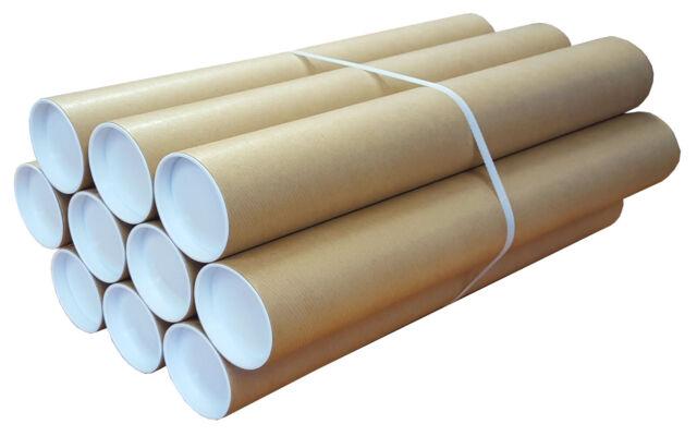 50 Tubes Cardboard Postal Tubes Plastic End Caps Strong A0 865MM X 76mm Diameter